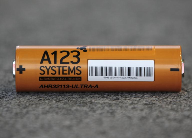 An A123 Systems Inc. high power Nanophospate Lithium Ion Cell for Hybrid Electric Vehicles battery is shown Thursday, Aug. 6, 2009 in Livonia, Mich. (AP)