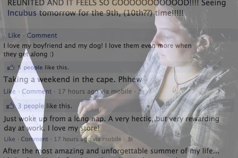 Catherine Devine, 22, reads instant messages on her laptop screen at her home in Kings Park, N.Y., Monday, Sept. 26, 2011. (AP) Composite with Facebook comments. (Dean Russell/WBUR)