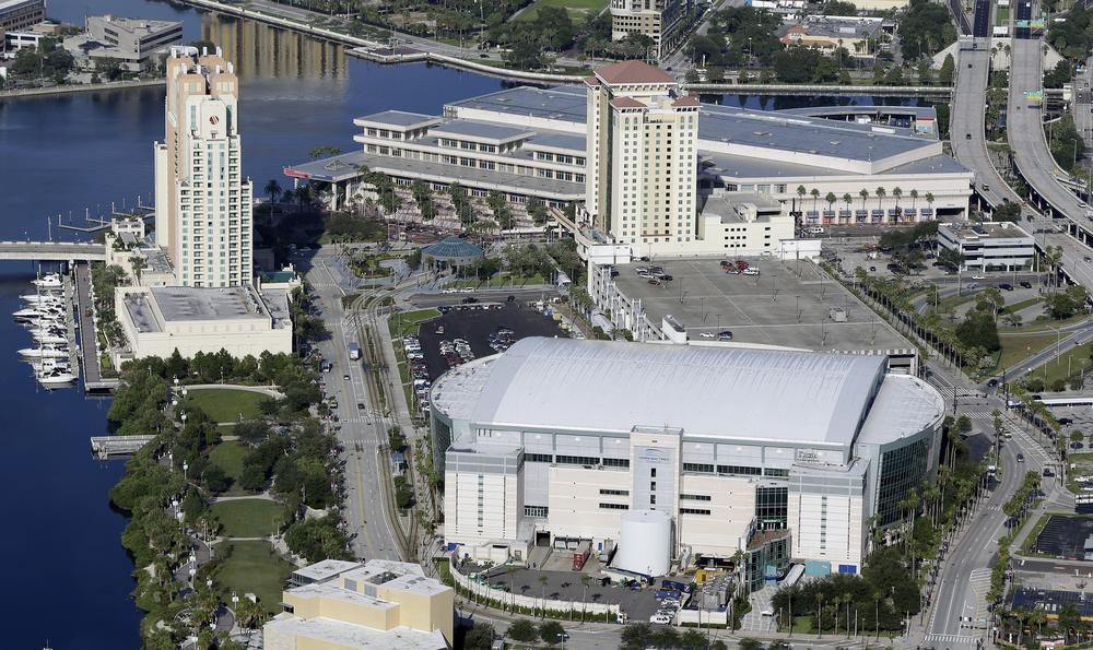 The Tampa Bay Times Forum, lower, right, the site of the 2012 Republican National Convention is shown Thursday, Aug. 16, 2012, in Tampa, Fla., which will be held the week of August 27. (AP)