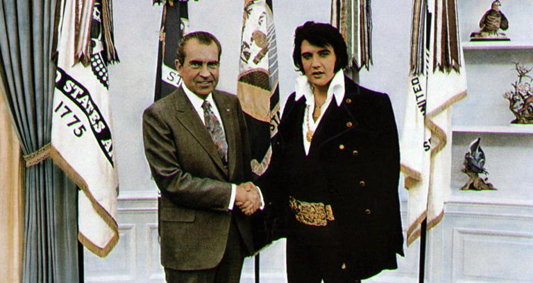This handout file photo shows President Richard Nixon, left, meeting with Elvis Presley on Dec. 21, 1970, in Washington. (AP/White House)