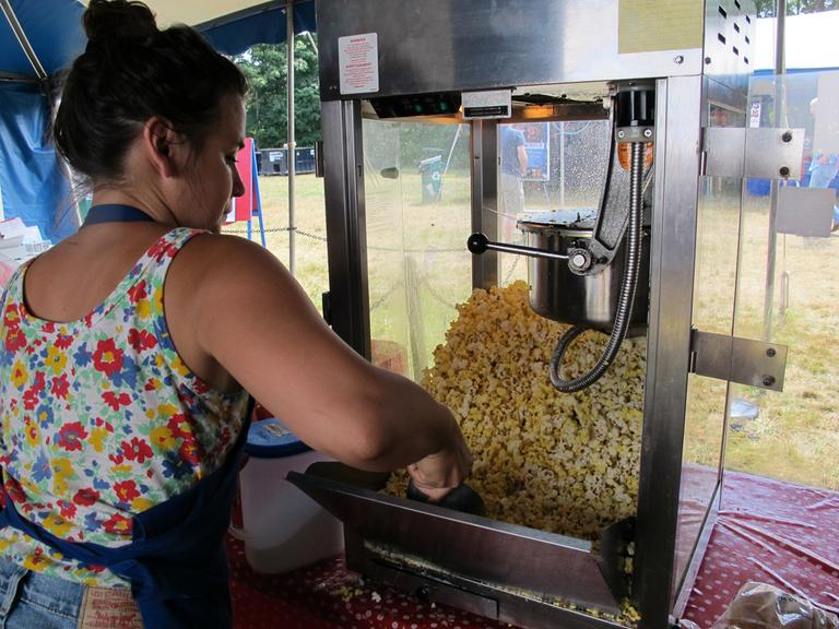 Marecki Jerry-rigged the machine to keep the kernels popping this summer. (Andrea Shea/WBUR)