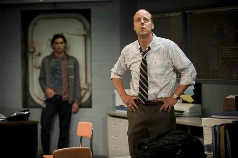 "Babak Tafti and Remi Sandri star in ""North Pool"" (Courtesy Kevin Sprague/Barrington Stage Company)"