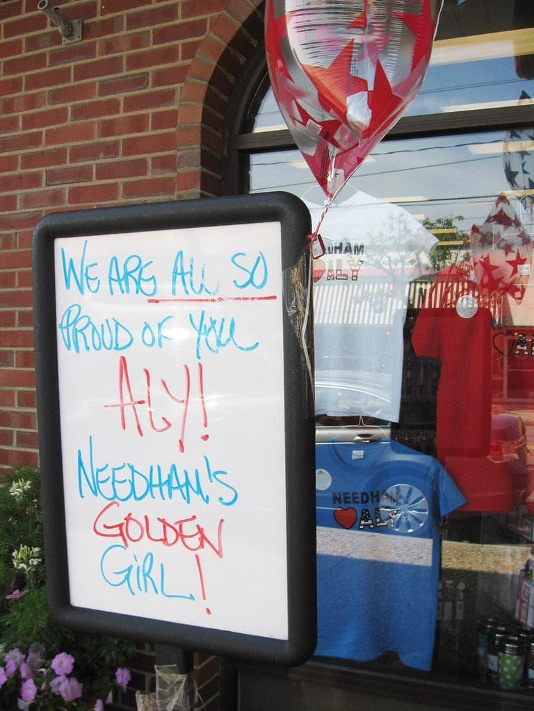One of the many signs for Raisman around Needham (Lynn Jolicoeur for WBUR)