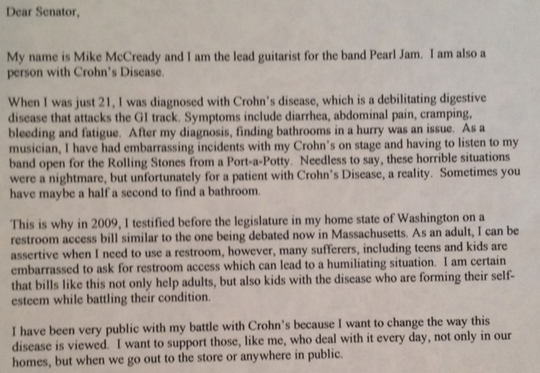 A letter from Mike McCready, lead guitarist for Pearl Jam and a Crohn's disease sufferer