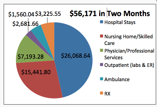 A cost breakdown of two months of care for Sue Beder