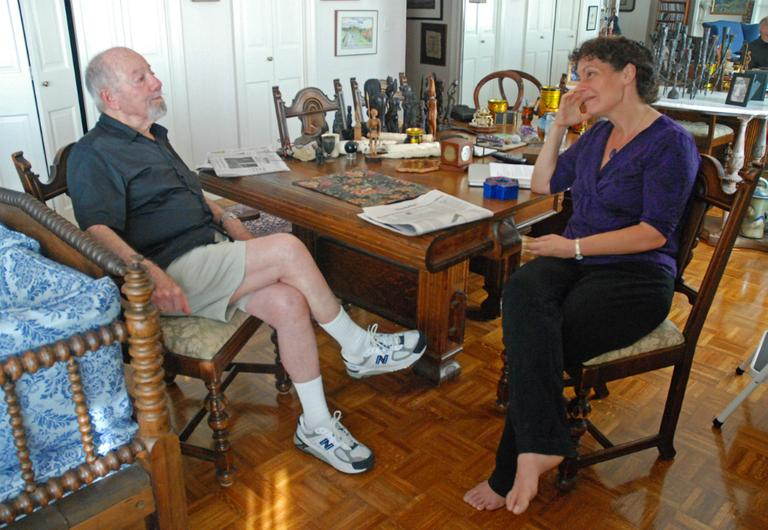 Charlie Ritz and Carey Goldberg, father and daughter, having a conversation about end of life choices (George Hicks/WBUR).