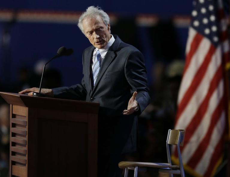 Actor Clint Eastwood spoke to an empty chair while addressing delegates during the Republican National Convention Thursday night. (AP)