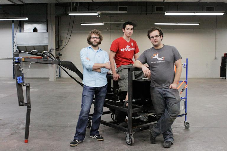 From left to right, Dan Cody, James Whong, Gui Cavalcanti, founders of Project Hexapod (Nate Goldman/WBUR)