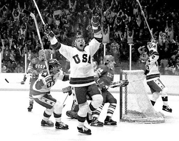 "The U.S. men's hockey team celebrates the ""Miracle on Ice,"" their stunning victory over the Soviets in the 1980 Olympic Games. The team's captain, Mike Eruzione, will speak at the RNC on Thursday night."