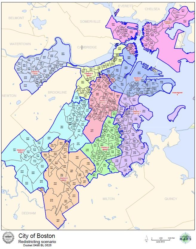 Proposed districts appear in color, while existing districts are outlined in blue. (City of Boston)