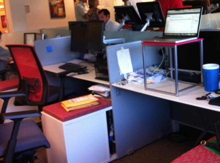 My standing desk: Laptop on a cheap little pink table