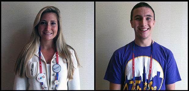 Caroline Shinkle, 19, and Evan Kenney, 18, the youngest Massachusetts delegates (Lisa Tobin/WBUR)