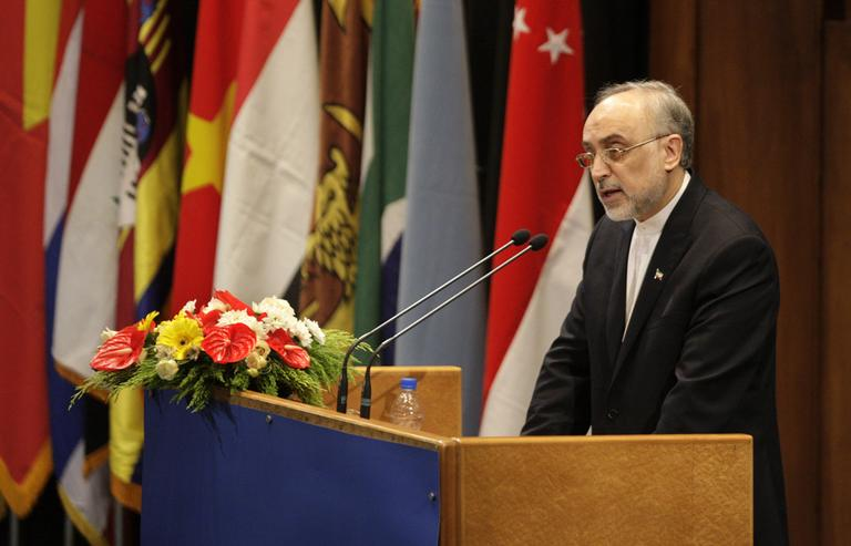 Iranian Foreign Minister Ali Akbar Salehi delivers a speech to an expert-level meeting of the Non-Aligned Movement, NAM, in Tehran, Iran, Sunday. Iran opened a world gathering of self-described nonaligned nations Sunday with a slap at the vast powers of the U.N. Security Council and an appeal to rid the world of nuclear weapons even as Tehran faces Western suspicions that it is seeking its own atomic arms. (AP)