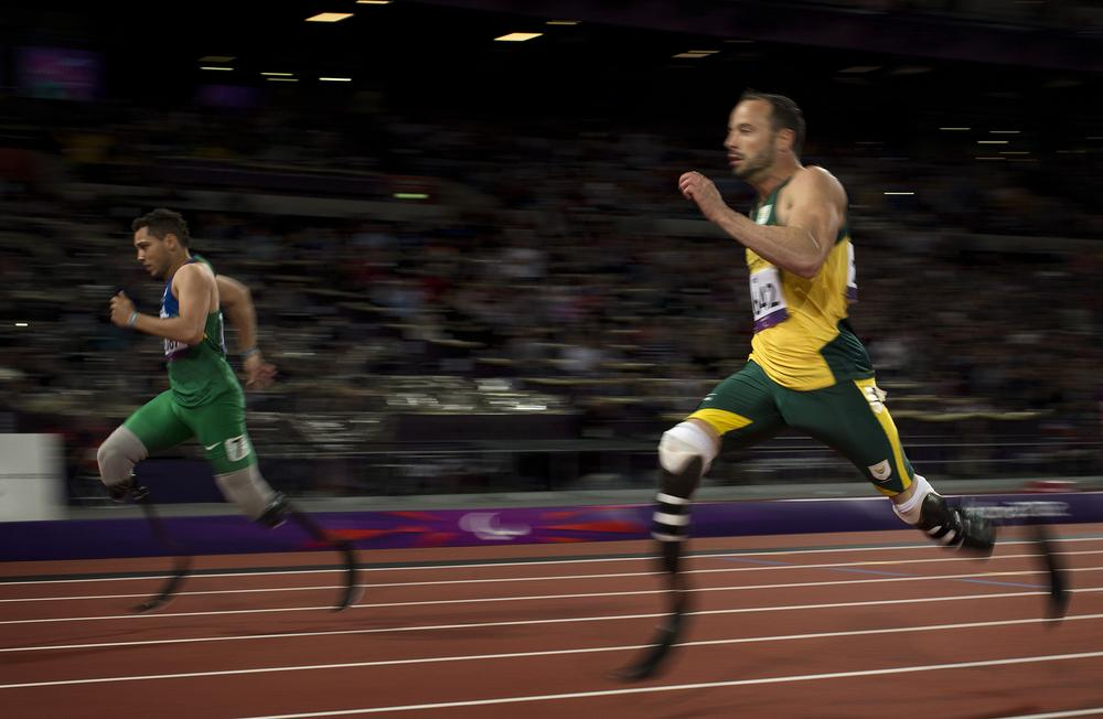 South Africa's Oscar Pistorius was the first double amputee to run in the Olympics. This week at the Paralympics, he failed to medal in the 100 meters and was beaten by Brazil's Alan Oliveira in the 200. (AP)