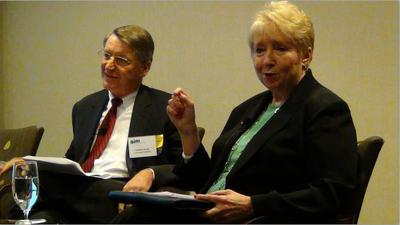 Bill Grant, CFO at Cummings Properties, and Sandy Reynolds, executive vice president at Associated Industries of Massachusetts, answer questions from employers trying to cope with rising health care costs. (Courtesy of Associated Industries of Massachusetts)