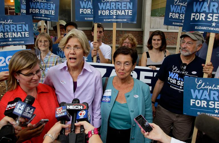 Democratic Senate candidate Elizabeth Warren talks to the media after casting her vote on Primary Day in Cambridge, Sept. 6. (AP)