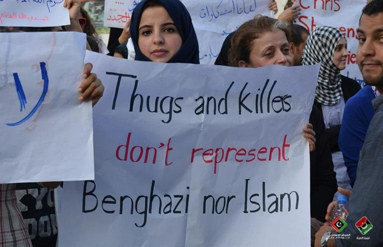 A counter protest in Benghazi denounced the violence that killed the U.S. ambassador to Libya and three other Americans.