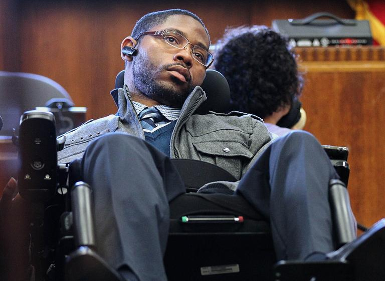 Shooting victim Marcus Hurd testifies in Boston's Suffolk Superior Court on March 7, 2012. (AP/The Boston Globe, Pool)