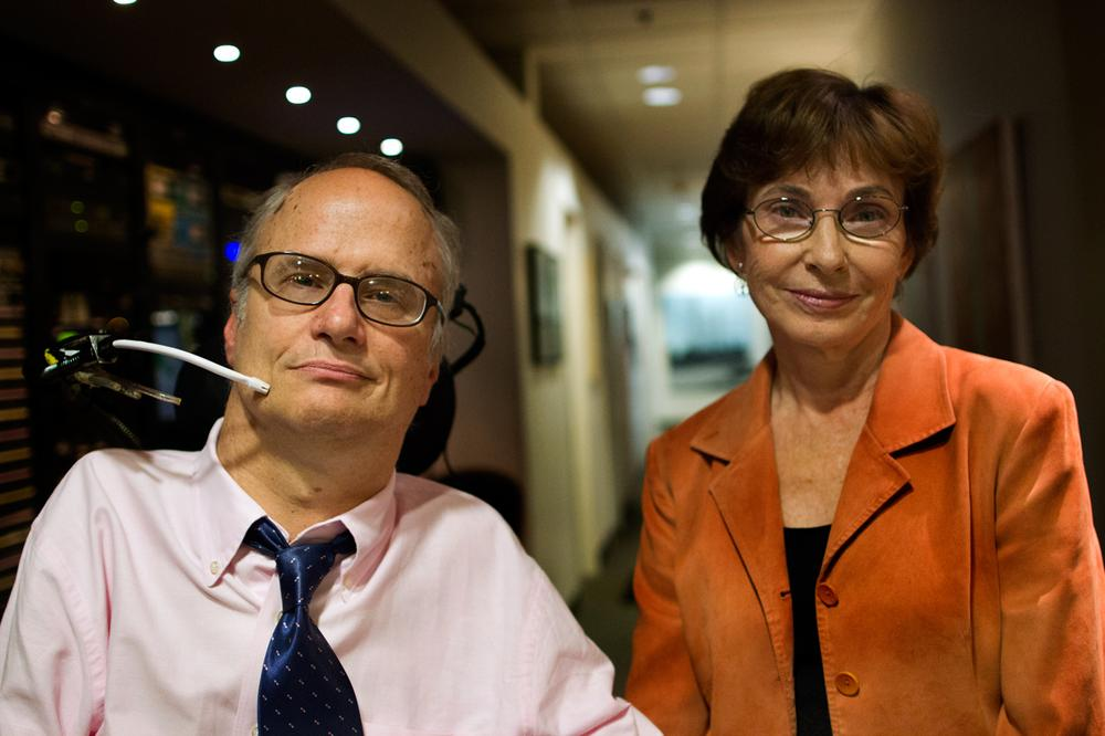 John Kelly, disabilities rights activist and founder of Second Thoughts, and Dr. Marcia Angell, a senior lecturer at Harvard Medical School and former editor of the New England Journal of Medicine. (Jesse Costa/WBUR)