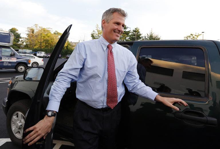 Sen. Scott Brown arrives for his first debate with Democratic challenger Elizabeth Warren. (AP)