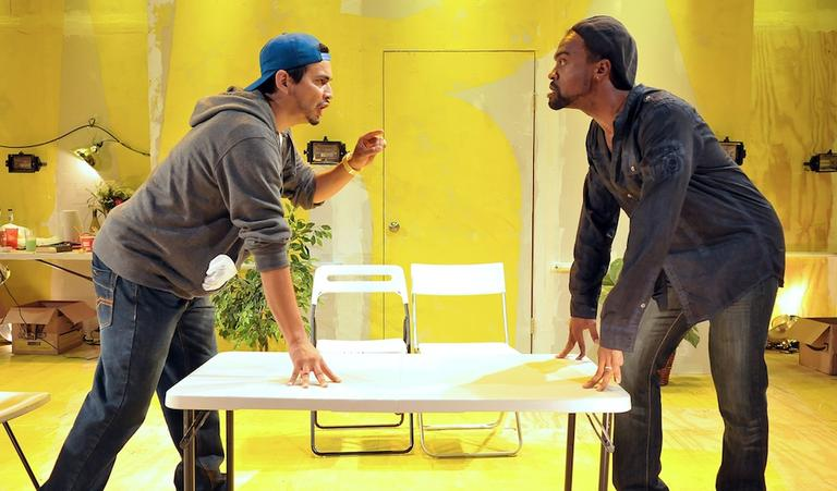 "Jaime Carrillo faces off against Maurice Emmanuel Parent in ""The Motherf**ker With The Hat"" at SpeakEasy Stage Company."