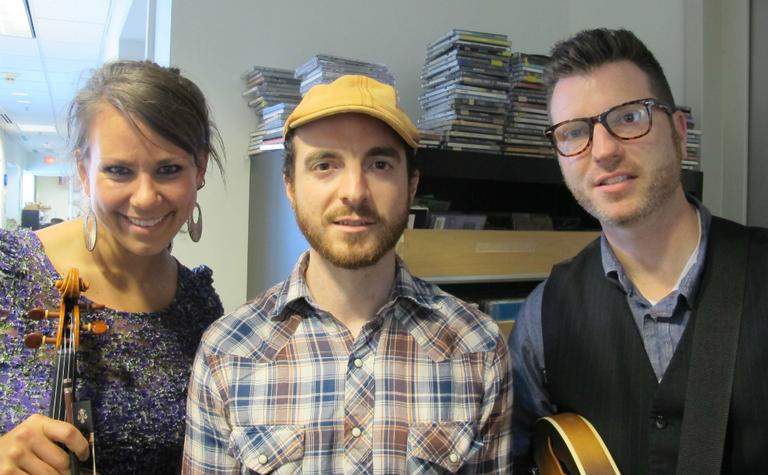 Three members of the Boston-based band, Air Traffic Controller. From left to right: Alison Shipton, Dave Munro and Steve Scott. (Aayesha Siddiqui/WBUR)