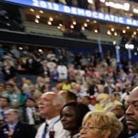 Delegates recite the pledge of allegiance at the Democratic National Convention. (AP Photo)