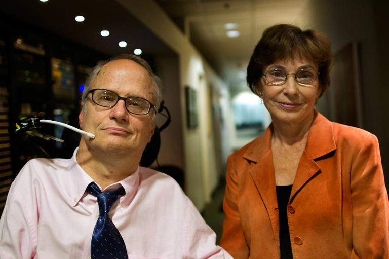 John Kelly, disabilities rights activist and founder of Second Thoughts, and Dr. Marcia Angell, senior lecturer in social medicine at Harvard Medical School and former editor of the New England Journal of Medicine. (Jesse Costa/WBUR)