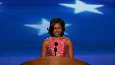 Michelle Obama speaks at the DNC (Getty Images).