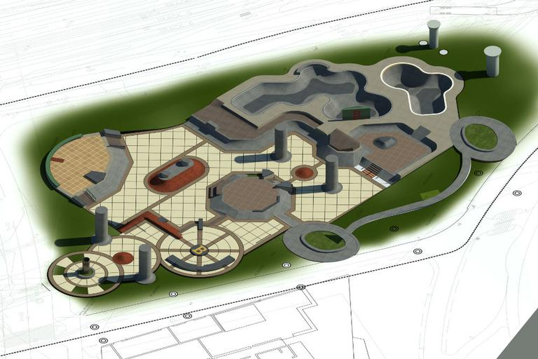CLICK TO ENLARGE: Possible design concept for the skatepark's site. (Courtesy of Action Sport Design/Stantec)