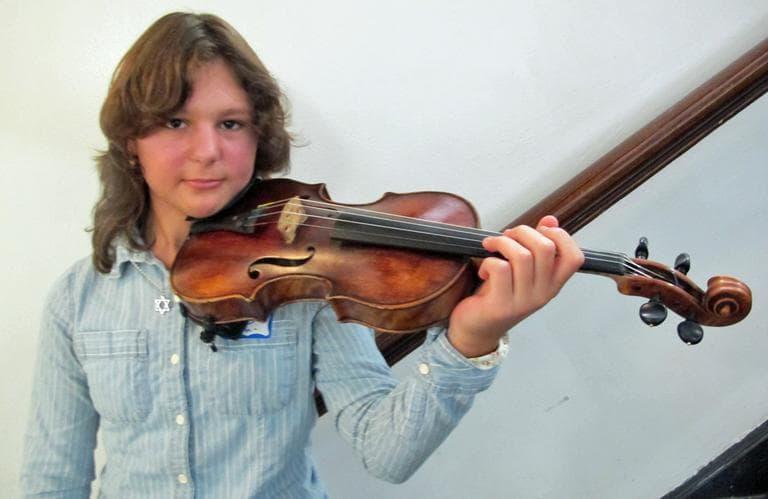 Illana Zaks, 12, is the youngest member of the BPYO. (Andrea Shea/WBUR)