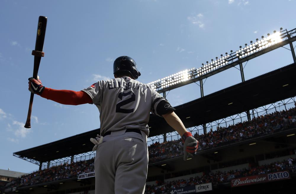 Boston Red Sox' Jacoby Ellsbury warms up before an at-bat during yesterday's game against the Orioles in Baltimore. (AP Photo)