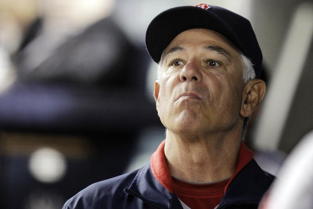 Sox manager Bobby Valentine looks toward the outfield during their 10-2 loss to the Yankees Monday. (AP)
