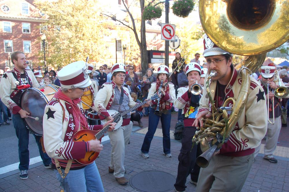 A band plays in Harvard Square during the fifth annual HONK! Festival in 2010. (Flickr/Chris Devers)