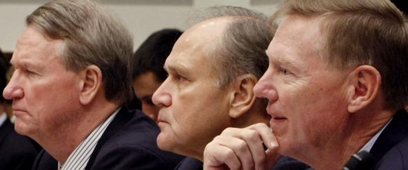 Auto industry executives (from left, Richard Wagoner, GM; Robert Nardelli, Chrysler; and Alan Mulally, Ford) testify on Capitol Hill, Nov. 19, 2008. (AP File Photo)