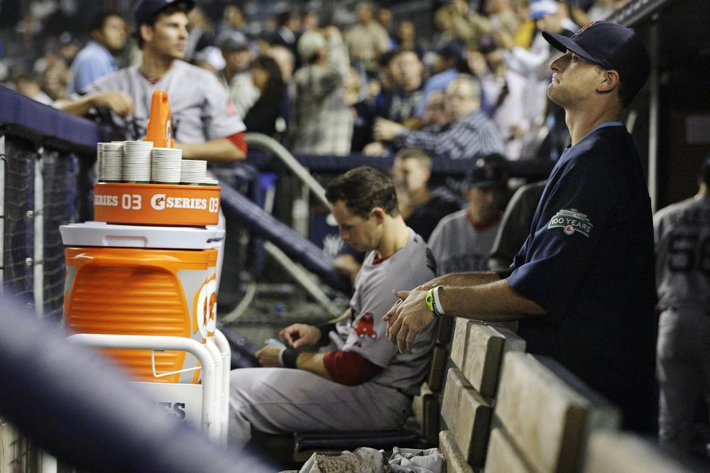 Boston Red Sox players react after their 14-2 loss to the New York Yankees Wednesday in New York. (AP)