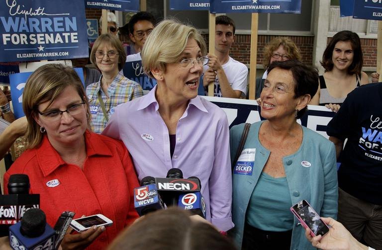 Democratic candidate for the U.S. Senate Elizabeth Warren talks to the media after casting her vote in the Massachusetts state primary in September. (AP)