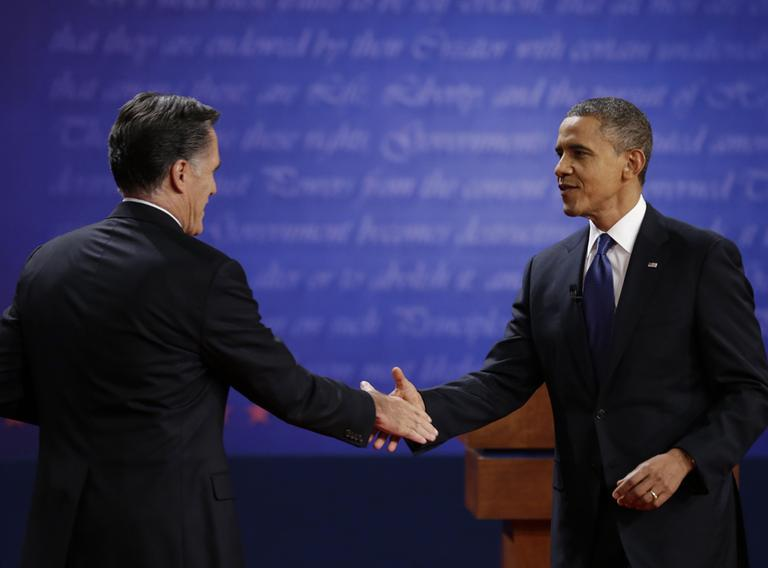 President Barack Obama, right, shakes hands with Republican presidential nominee Mitt Romney after the first presidential debate at the University of Denver, Wednesday, Oct. 3, 2012, in Denver. (AP)