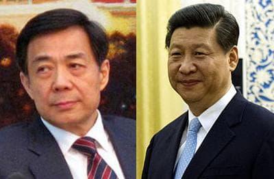 China's Bo Xilai (left) and Xi Jinping.