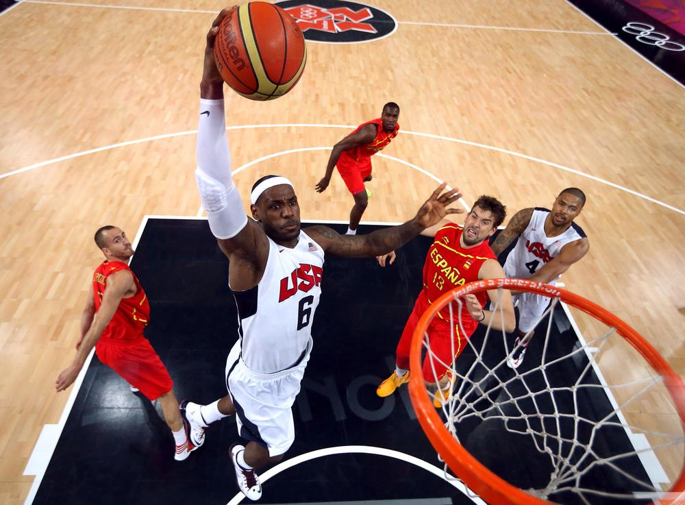 The U.S. victory at the 2012 Summer Olympics made LeBron James the fourth basketball player to win an Olympic gold, a league championship, and an MVP award in the same year. (AP/Christian Petersen)