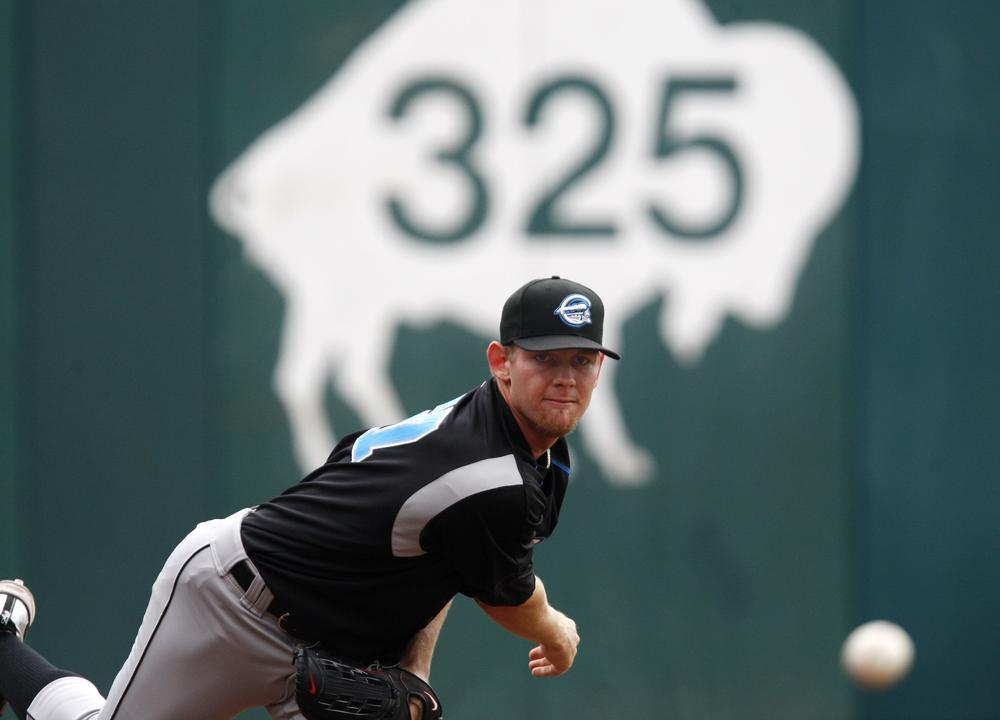 Before being called up to the Nationals, Stephen Strasburg pitched against the Buffalo Bisons in an AAA International league baseball game in Buffalo, N.Y. (AP/ David Duprey)