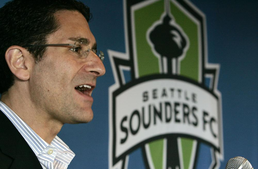 Seattle Sounders general manager Adrian Hanauer announcing the results of the fan vote that named the team in 2008. (AP/Elaine Thompson)