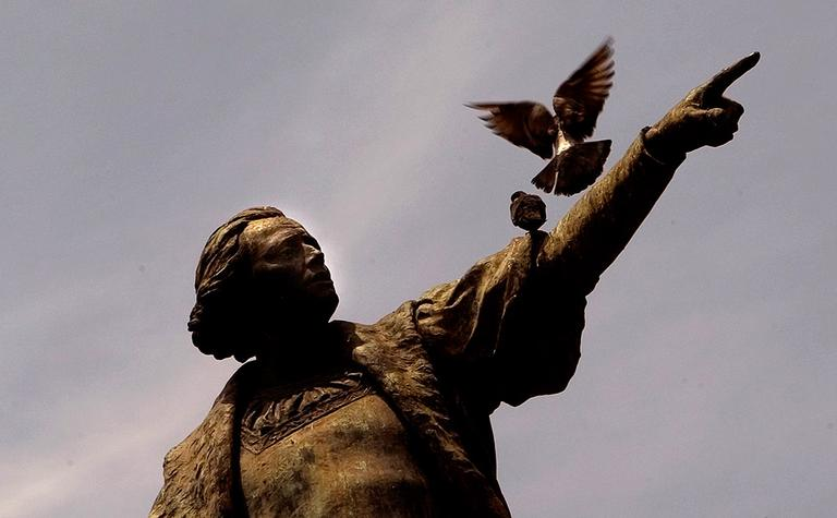 A statue of Spanish explorer Christopher Columbus in Santo Domingo, Dominican Republic.(AP)
