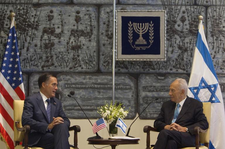 U.S. Republican presidential candidate Mitt Romney, left, met Israel's President Shimon Peres at the President's residence in Jerusalem in July 2012. (AP)