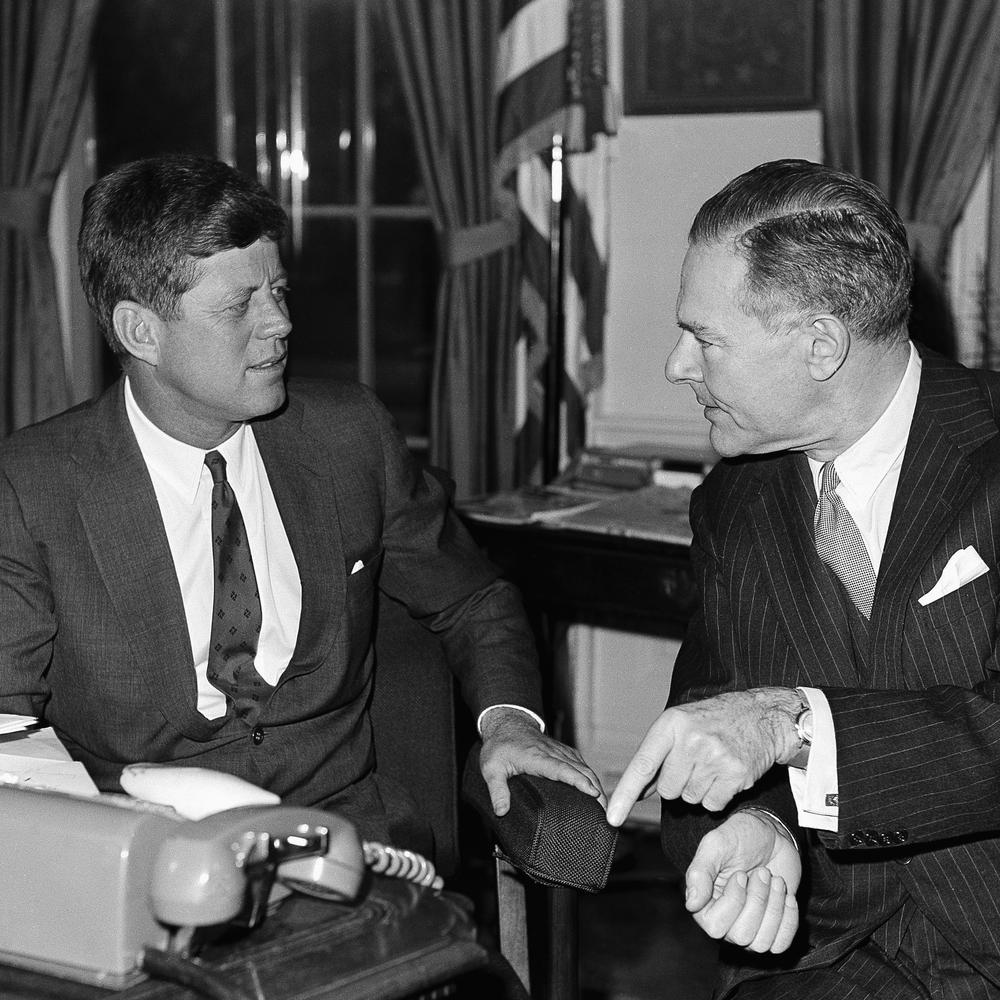 President John Kennedy and Henry Cabot Lodge pictured together on Dec. 12, 1961 in Washington. (AP File Photo)
