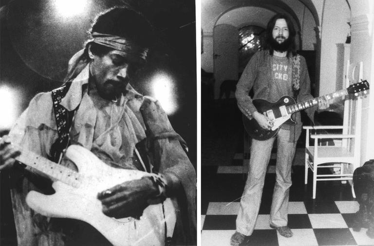 Jimi Hendrix, left, is ranked the best guitarist of all time by Rolling Stone. (AP) Eric Clapton, shown here posing with a Gibson Les Paul guitar, is ranked #2. (AP/Random House)