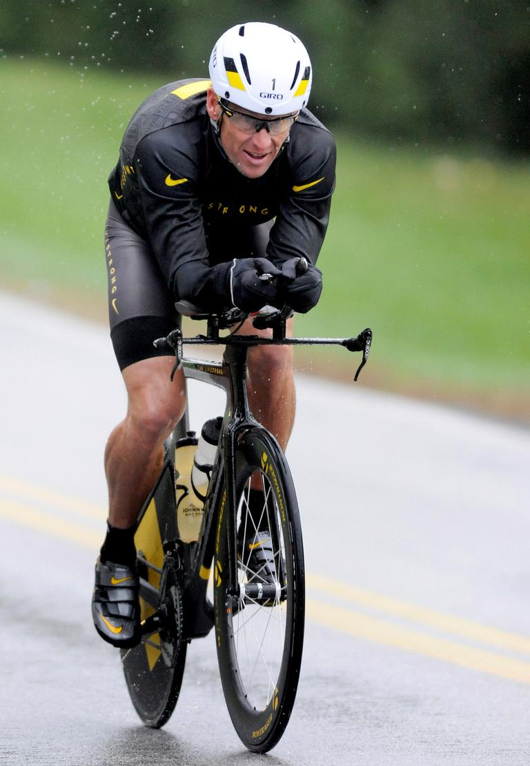 Lance Armstrong competes in the Rev3 Half Full Triathalon on Sunday in Ellicott City, Md. Armstrong joined other cancer survivors in the event, which raised funds for the Ulman Cancer Fund for Young Adults. (AP/Steve Ruark)