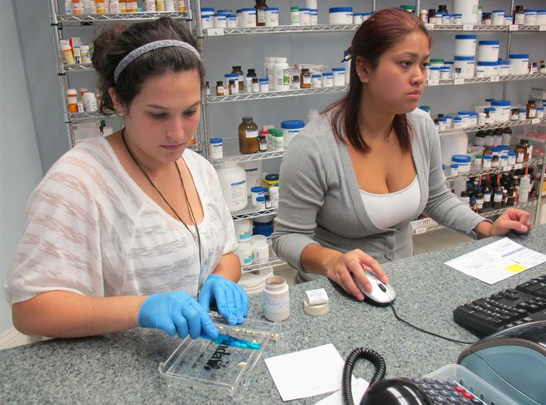 Workers at J.E. Pierce Apothecary, a compounding pharmacy in Brookline. (Curt Nickisch/WBUR)