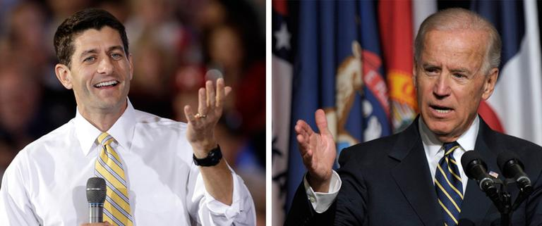 Vice President Joe Biden and Republican Congressman Paul Ryan face off in their first and only debate on Thursday. (AP)
