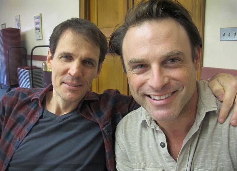 """""""Beat Generation"""" actors Joel Collins, left, who plays """"Milo"""" (Cassady), and Tony Crane, who plays """"Buck"""" (Kerouac) (Andrea Shea/WBUR)"""